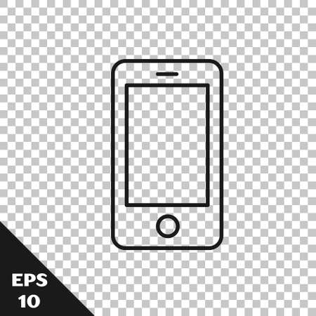Black line Smartphone, mobile phone icon isolated on transparent background. Vector Illustration Illusztráció