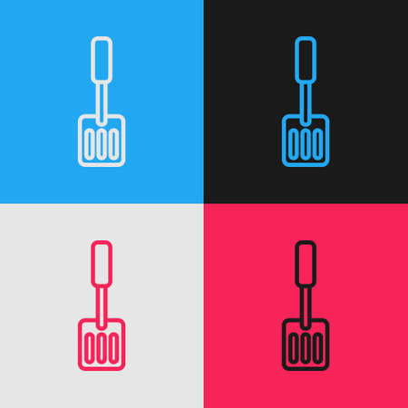 Pop art line Spatula icon isolated on color background. Kitchen spatula icon. BBQ spatula sign. Barbecue and grill tool. Vector