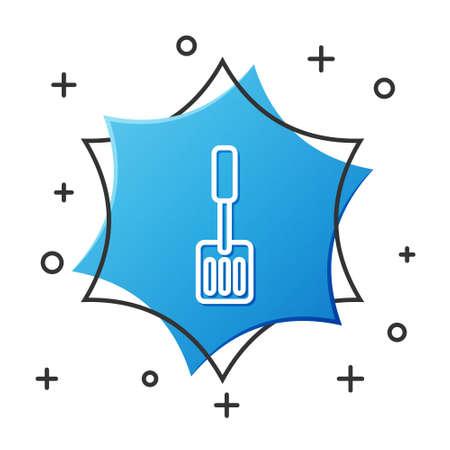 White line Spatula icon isolated on white background. Kitchen spatula icon. BBQ spatula sign. Barbecue and grill tool. Blue hexagon button. Vector