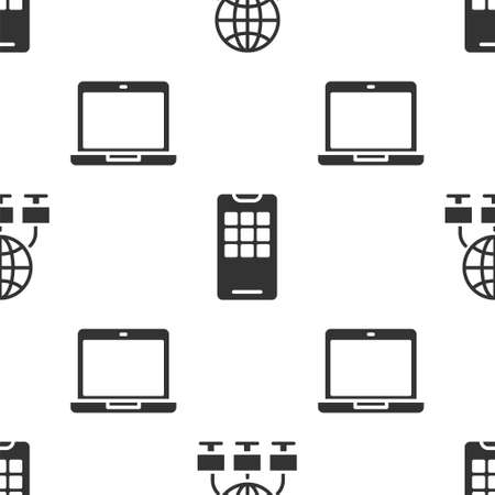 Set Computer network, Mobile phone and Laptop on seamless pattern. Vector
