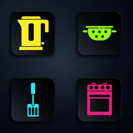 Set Oven, Electric kettle, Spatula and Kitchen colander. Black square button. Vector