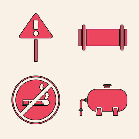 Set Oil industrial factory building, Exclamation mark in triangle, Industry pipe and No Smoking icon. Vector