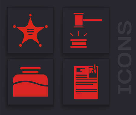 Set Lawsuit paper, Hexagram sheriff, Judge gavel and Inkwell icon. Vector