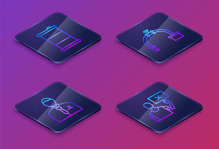 Set Isometric line Barrel oil, Businessman or stock market trader, Industry pipe and valve and Nature saving protest. Blue square button. Vector
