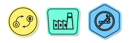 Set line Oil exchange, Oil industrial factory building and No Smoking. Colored shapes. Vector