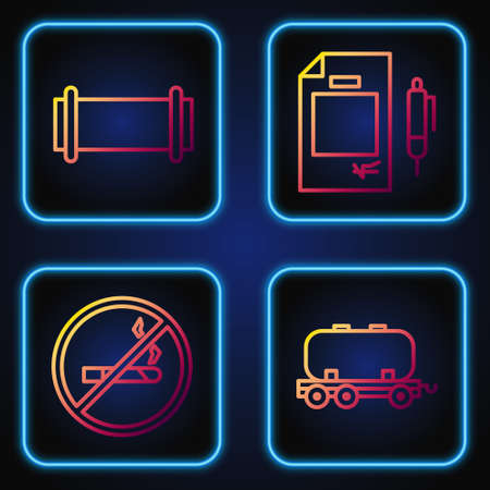 Set line Oil railway cistern, No Smoking, Industry pipe and Contract money and pen. Gradient color icons. Vector