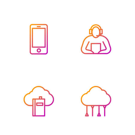 Set line Network cloud connection, Cloud online library, Mobile phone and Student. Gradient color icons. Vector