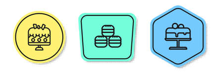 Set line Cake on plate, Macaron cookie and . Colored shapes. Vector
