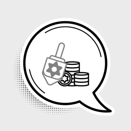 Line Hanukkah dreidel and coin icon isolated on grey background. Colorful outline concept. Vector