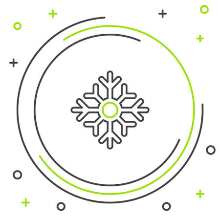 Line Snowflake icon isolated on white background. Merry Christmas and Happy New Year. Colorful outline concept. Vector