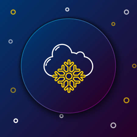 Line Cloud with snow icon isolated on blue background. Cloud with snowflakes. Single weather icon. Snowing sign. Colorful outline concept. Vector