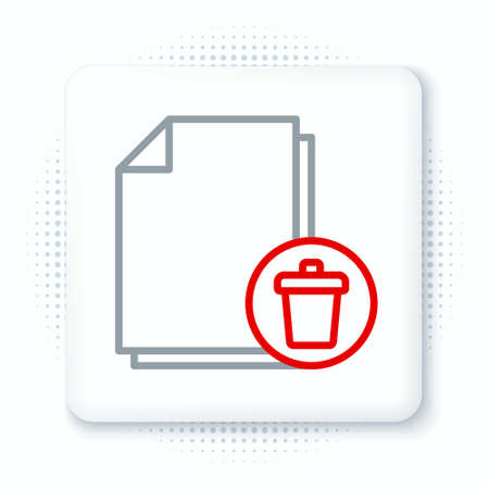 Line Delete file document icon isolated on white background. Paper sheet with recycle bin sign. Rejected document. Cross on paper. Colorful outline concept. Vector