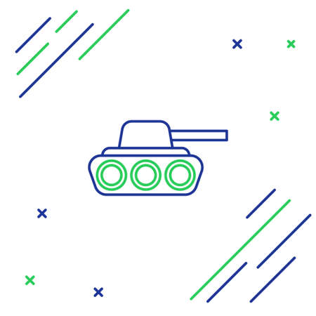 Line Military tank icon isolated on white background. Colorful outline concept. Vector
