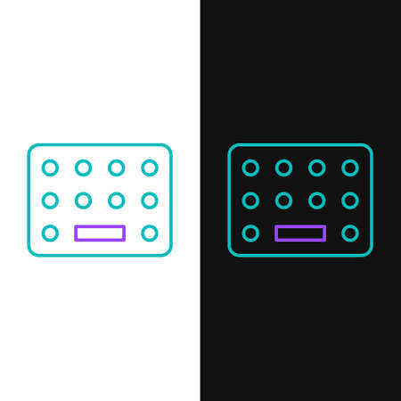 Line Pills in blister pack icon isolated on white and black background. Medical drug package for tablet, vitamin, antibiotic, aspirin. Colorful outline concept. Vector