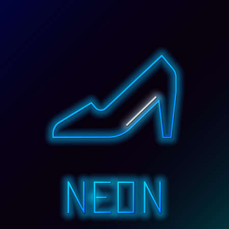 Glowing neon line Woman shoe with high heel icon isolated on black background. 8 March. International Happy Women Day. Colorful outline concept. Vector