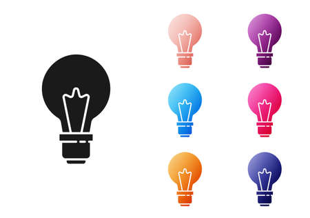 Black Light bulb with concept of idea icon isolated on white background. Energy and idea symbol. Inspiration concept. Set icons colorful. Vector Иллюстрация