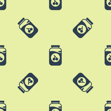 Blue Cherry jam jar icon isolated seamless pattern on yellow background. Vector