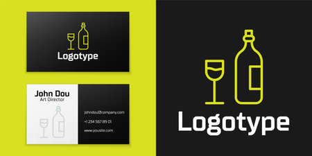 line Wine bottle with wine glass icon isolated on black background. Happy Easter.   design template element. Vector Illustration Ilustração