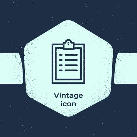 Grunge line Clipboard with checklist icon isolated on blue background. Control list symbol. Survey poll or questionnaire feedback form. Monochrome vintage drawing. Vector Illustration