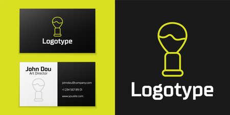 line Shaving brush icon isolated on black background. Barbershop symbol.   design template element. Vector Illustration Ilustração