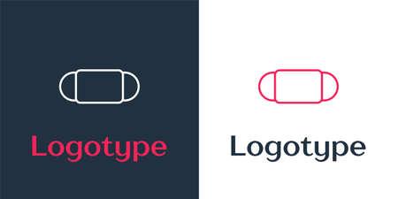 line Medical protective mask icon isolated on white background.   design template element. Vector Illustration Ilustração