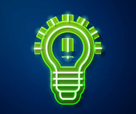 Glowing neon line Light bulb with concept of idea icon isolated on blue background. Energy and idea symbol. Inspiration concept. Vector Illustration