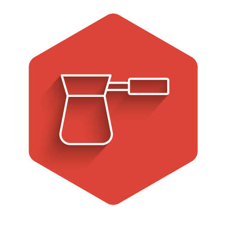White line Coffee turk icon isolated with long shadow. Red hexagon button. Vector