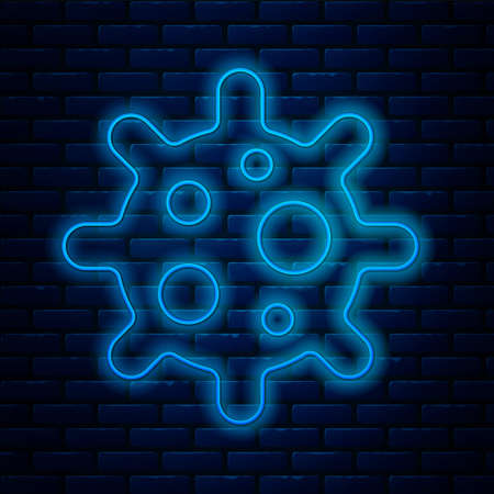 Glowing neon line Virus icon isolated on brick wall background. Corona virus 2019-nCoV. Bacteria and germs, cell cancer, microbe, fungi. Vector Ilustração