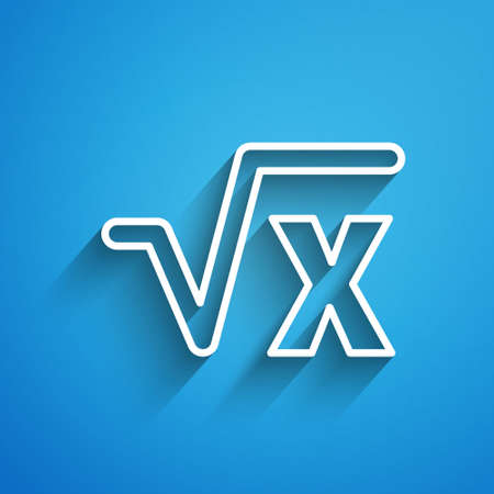 White line Square root of x glyph icon isolated on blue background. Mathematical expression. Long shadow. Vector