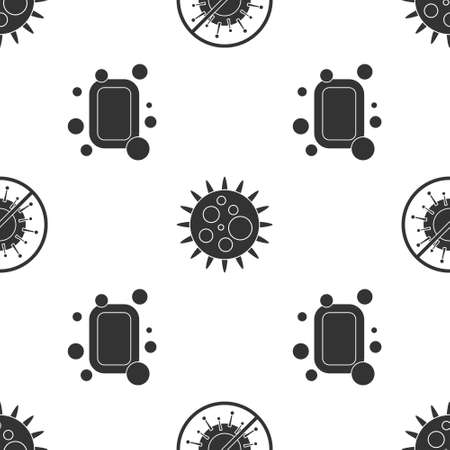 Set Stop virus, Virus and Bar of soap on seamless pattern. Vector Ilustração