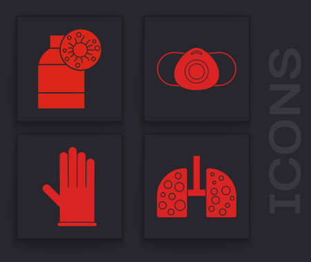 Set Virus cells in lung, Bottle with virus, Medical protective mask and Medical rubber gloves icon. Vector