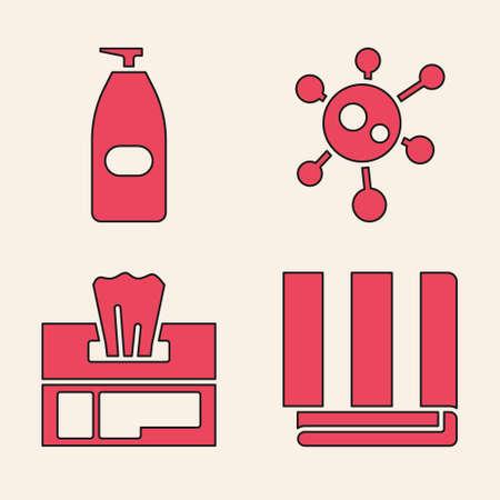 Set Towel stack, Bottle of liquid antibacterial soap, Virus and Wet wipe pack icon. Vector Ilustração