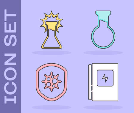 Set Electrical panel, Test tube and flask, Shield protecting from virus and Test tube and flask icon. Vector 矢量图像