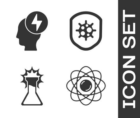 Set Atom, Head and electric symbol, Test tube and flask and Shield protecting from virus icon. Vector