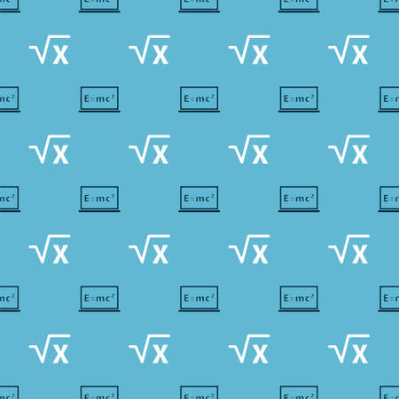 Set Equation solution and Square root of x glyph on seamless pattern. Vector