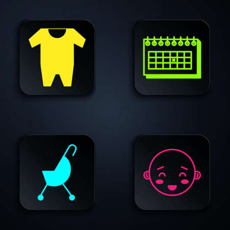 Set Happy little boy head, Baby clothes, Baby stroller and Calendar. Black square button. Vector