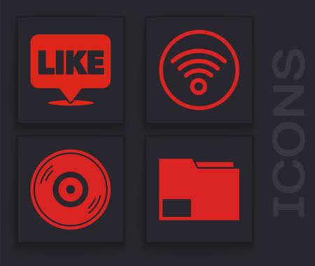 Set Document folder, Like in speech bubble, WiFi wireless internet network and Vinyl disk icon. Vector Ilustração