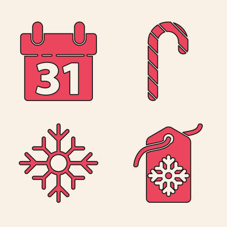 Set Price tag with an inscription Sale, Calendar, Christmas candy cane with stripes and Snowflake icon. Vector