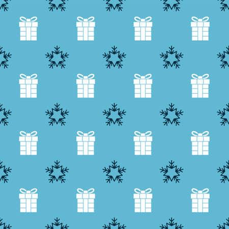 Set Snowflake and Gift box on seamless pattern. Vector