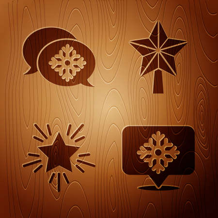 Set Snowflake with speech bubble, Snowflake with speech bubble, Christmas star and Christmas star on wooden background. Vector Иллюстрация