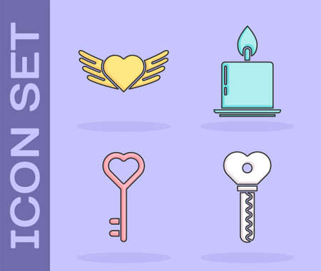 Set Key in heart shape, Heart with wings, Key in heart shape and Burning candle icon. Vector