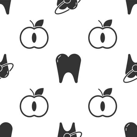 Set Tooth whitening concept, Tooth and Apple on seamless pattern. Vector