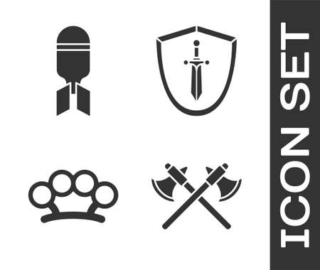 Set Crossed medieval axes, Aviation bomb, Brass knuckles and Medieval shield with sword icon. Vector