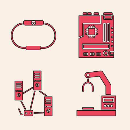 Set Robotic robot arm hand factory, Smartwatch, Motherboard and Computer network icon. Vector