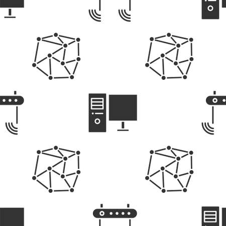 Set Router and wifi signal, Computer monitor and Neural network on seamless pattern. Vector