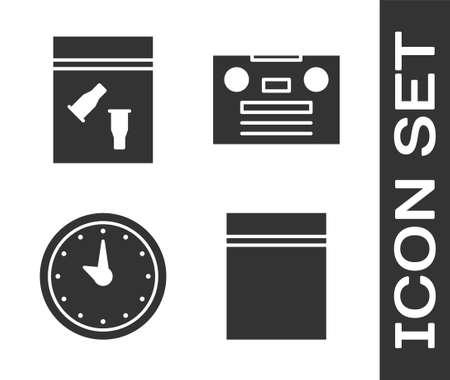 Set Plastic bag, Evidence bag and bullet, Clock and Retro audio cassette tape icon. Vector Ilustração