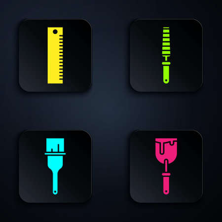 Set Putty knife, Ruler, Paint brush and Chisel tool for wood. Black square button. Vector