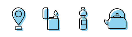 Set line Bottle of water, Location, Lighter and Kettle with handle icon. Vector