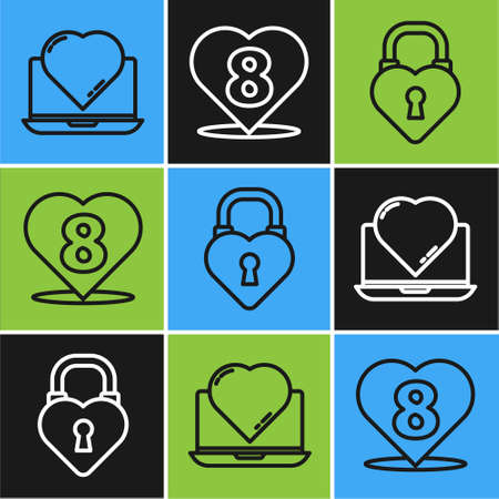 Set line Online dating app and chat, Castle in the shape of a heart and Heart with 8 March icon. Vector