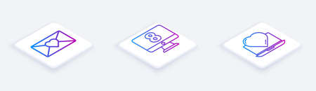 Set Isometric line Envelope with 8 March, 8 March on monitore and Online dating app and chat. White square button. Vector